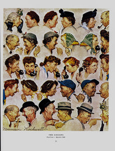 "Norman Rockwell vintage art book plate [1948] ""The Gossips"" Post-war Americana"
