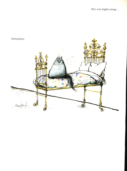"Cat print ""Nobody loves me"" / ""Anticipation"" Ronald Searle 8 x 11"" vintage book art [1982]"