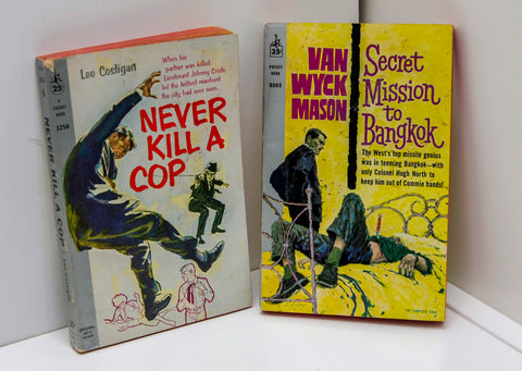"Murder Mystery Double Feature ""Never Kill a Cop"" & ""Secret Mission To Bangkok"" First Edition Vintage Paperbacks Super-nice! 1959 / 1961"