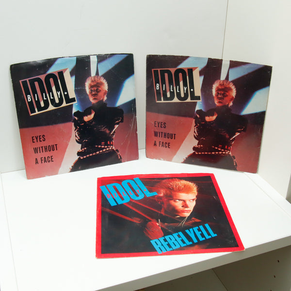 "Vintage 45 vinyl single record ""Eyes Without a Face"" Billy Idol [1983/4] in original sleeve along with 2 empty sleeves"