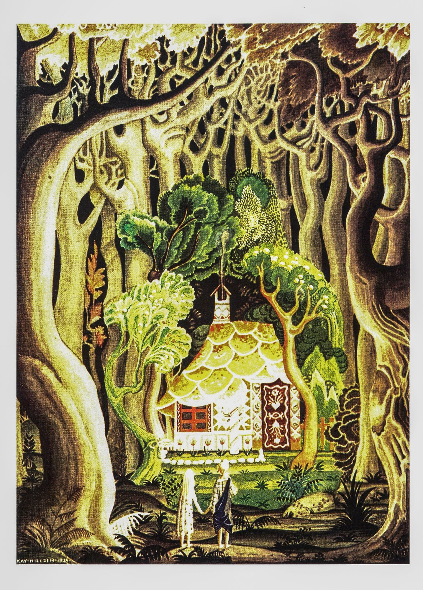 "Arts & Crafts illustration Kay Nielsen [1924] ""The cottage was built of bread and cake."" Hansel and Gretel Brothers Grimm"