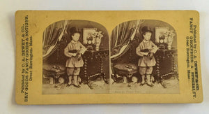 Victorian boy dandy in top hat & gloves umbrella G. Barrington Mass grocery ad