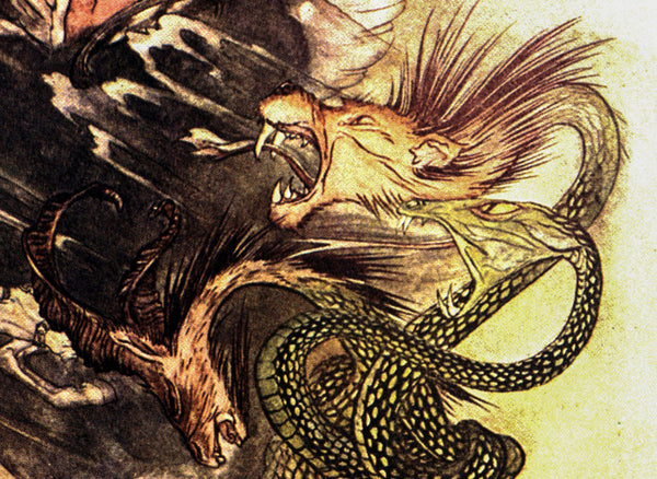 "A Wonder Book Arthur Rackham [1922] ""Its three heads spluttering fire at Pegasus and his rider"" Color vintage book plate"