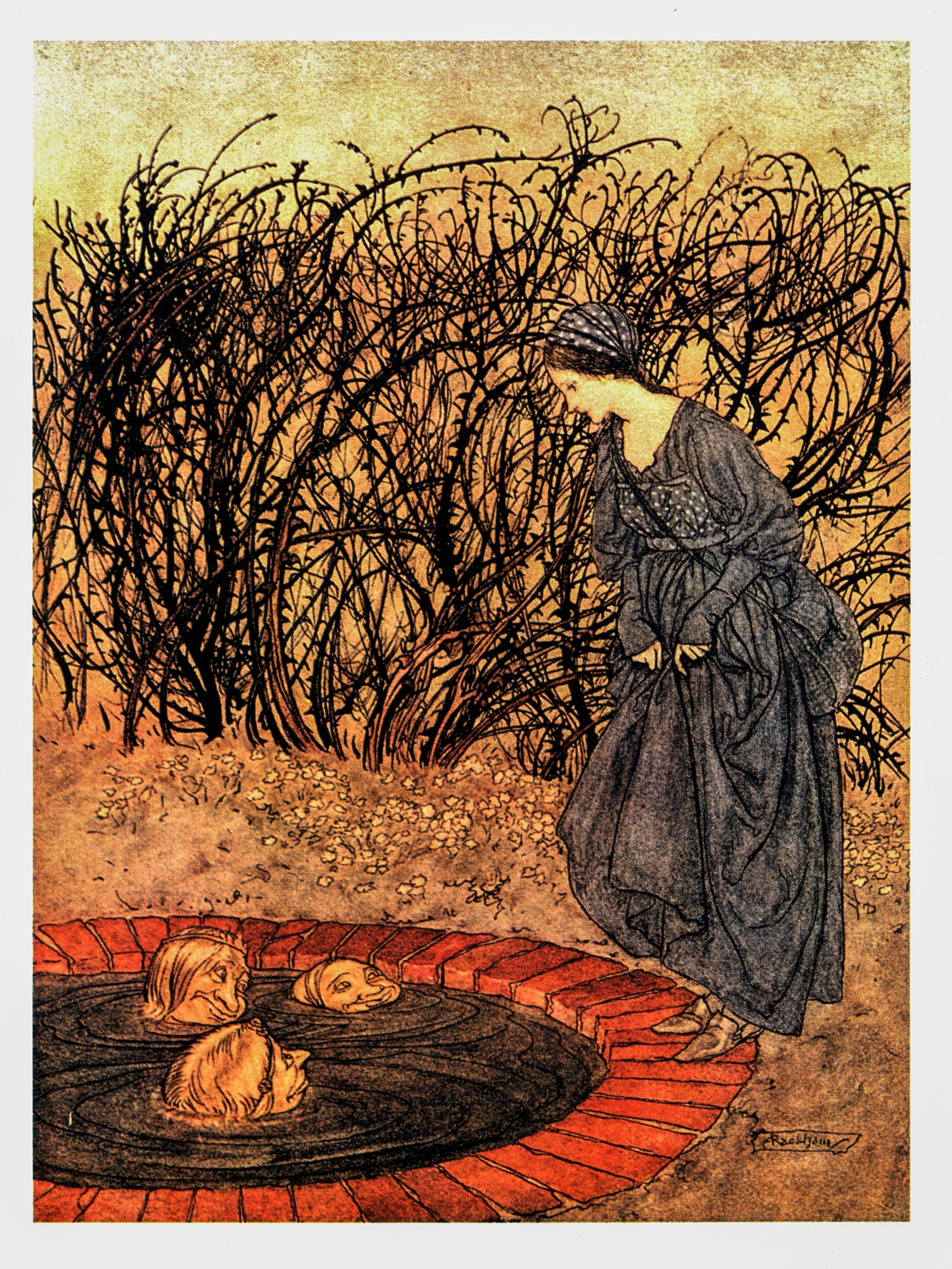 "English Fairy Tales as retold by FA Steel Arthur Rackham [1918] ""They thanked her and said goodbye..."" Color vintage book plate"