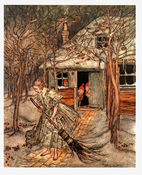 "Tales by the Brothers Grimm Arthur Rackham [1917] ""What did she find there but real ripe strawberries"" Color vintage book plate"