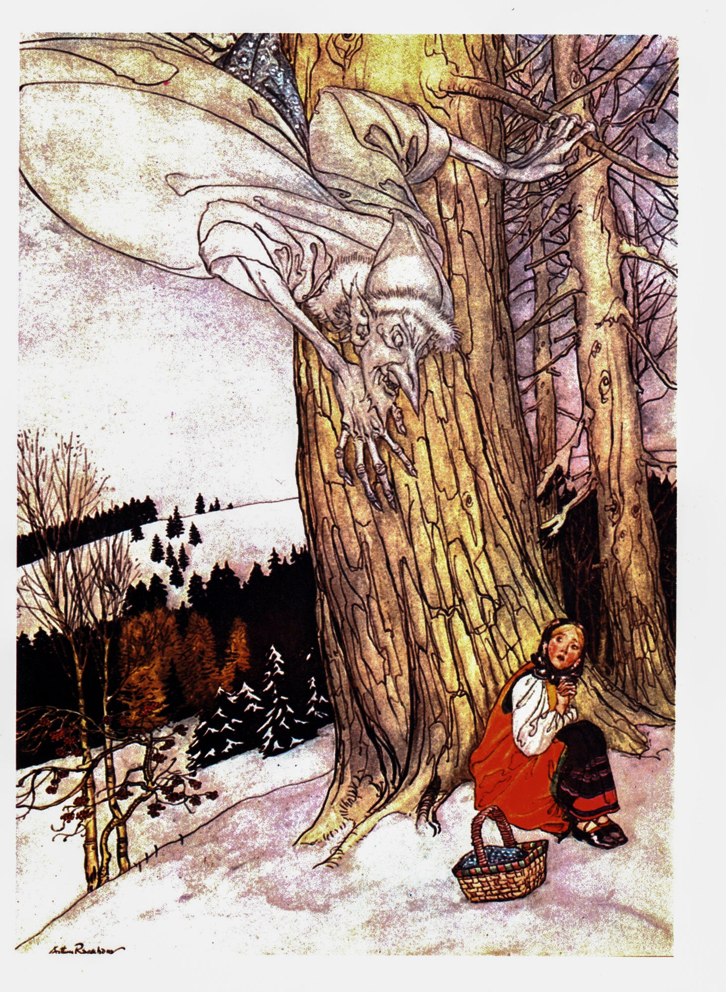 "The Allies' Fairy Book Arthur Rackham [1916] ""Art thou warm, Maiden?"" Color vintage book plate"