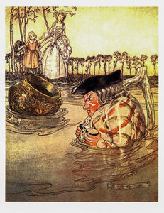 "Aesop's Fables Arthur Rackham [1912] ""The Two Pots"" Color vintage book plate Ready to frame"