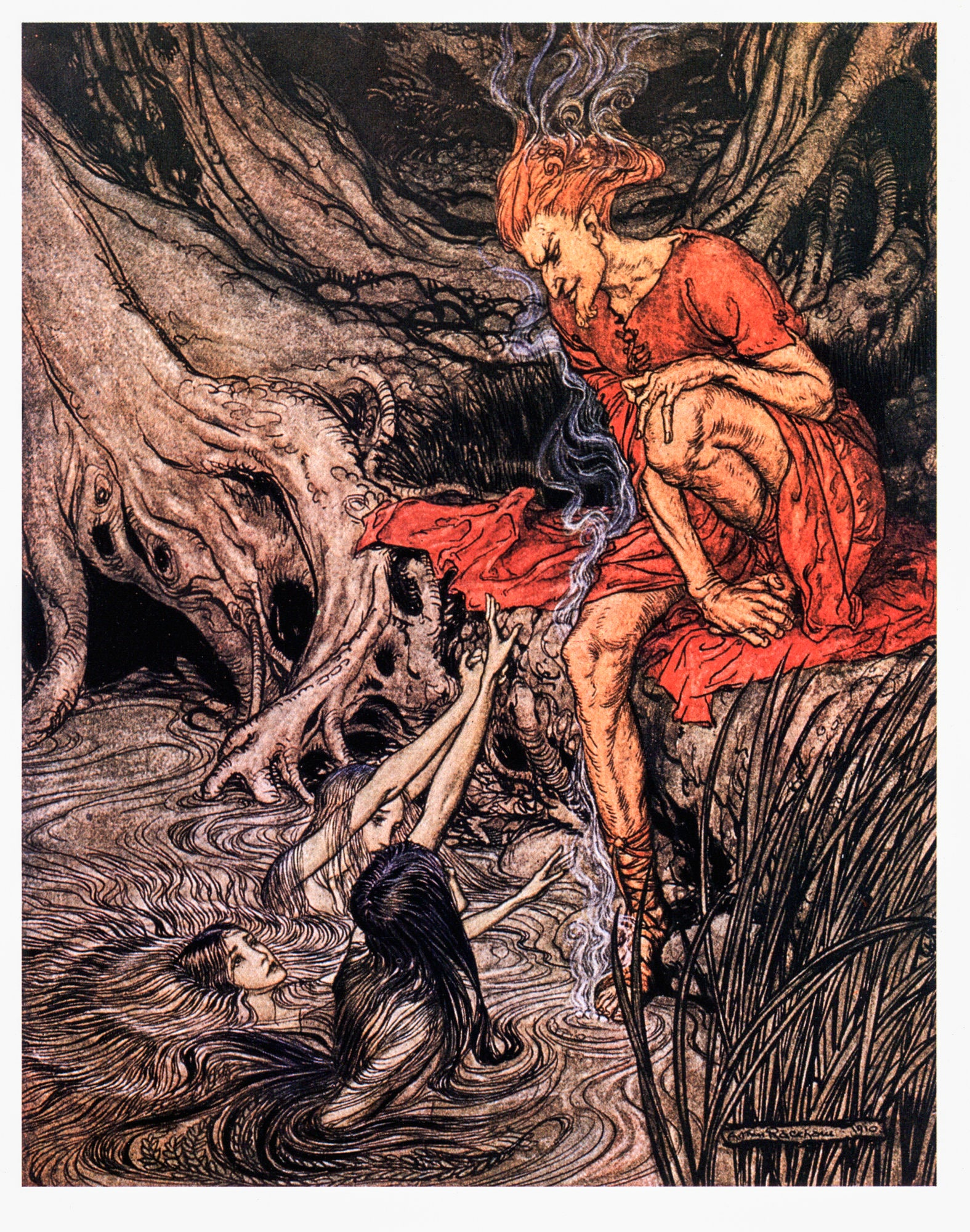 "The Rhinegold and the Valkyrie Arthur Rackham [1910] ""The Rhine's Pure Gleaming Children..."" Color vintage book plate Ready to frame"