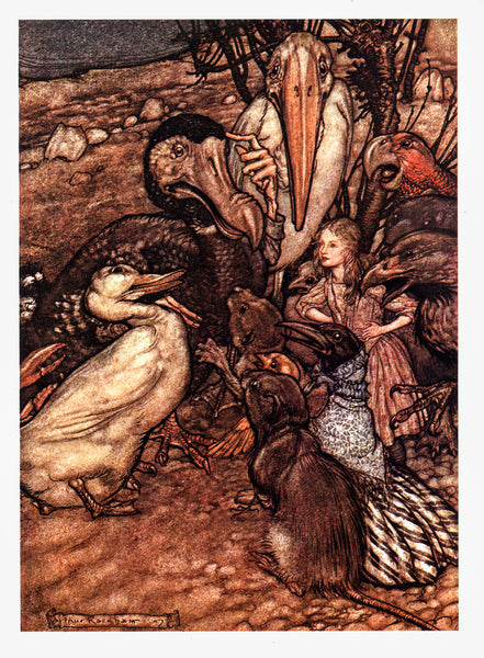 "Alice in Wonderland Arthur Rackham [1907] ""They all crowded round it..."" Color vintage book plate Ready to frame"