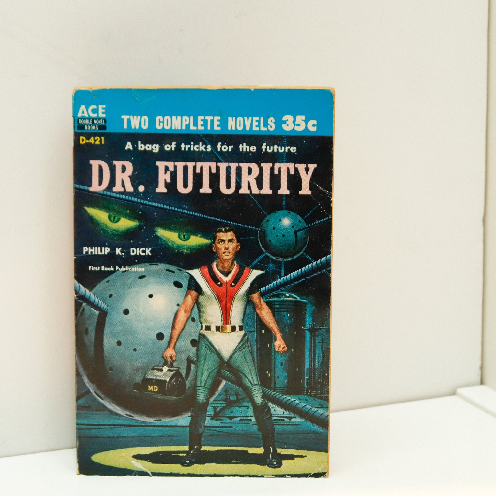 "Philip K Dick ""Dr. Futurity"" Vintage dos-a-dos science fiction paperback First time in print [1960] / John Brunner ""Slavers of Space"" ACE"
