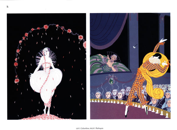 "Erte ""Sleeping Beauty / Columbine and Harlequin"" [c.1982] Two-sided vintage book page art"