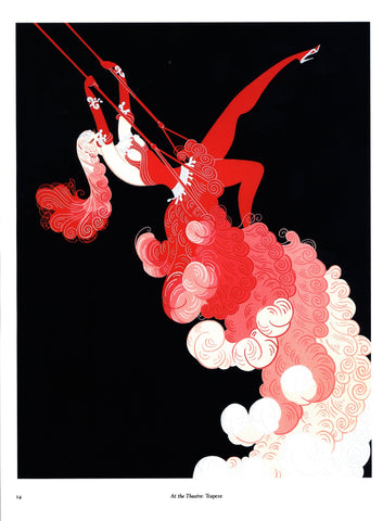 "Erte ""At the Theatre: Trapeze/Spring Shadows"" [c.1982] Two-sided vintage book page art"