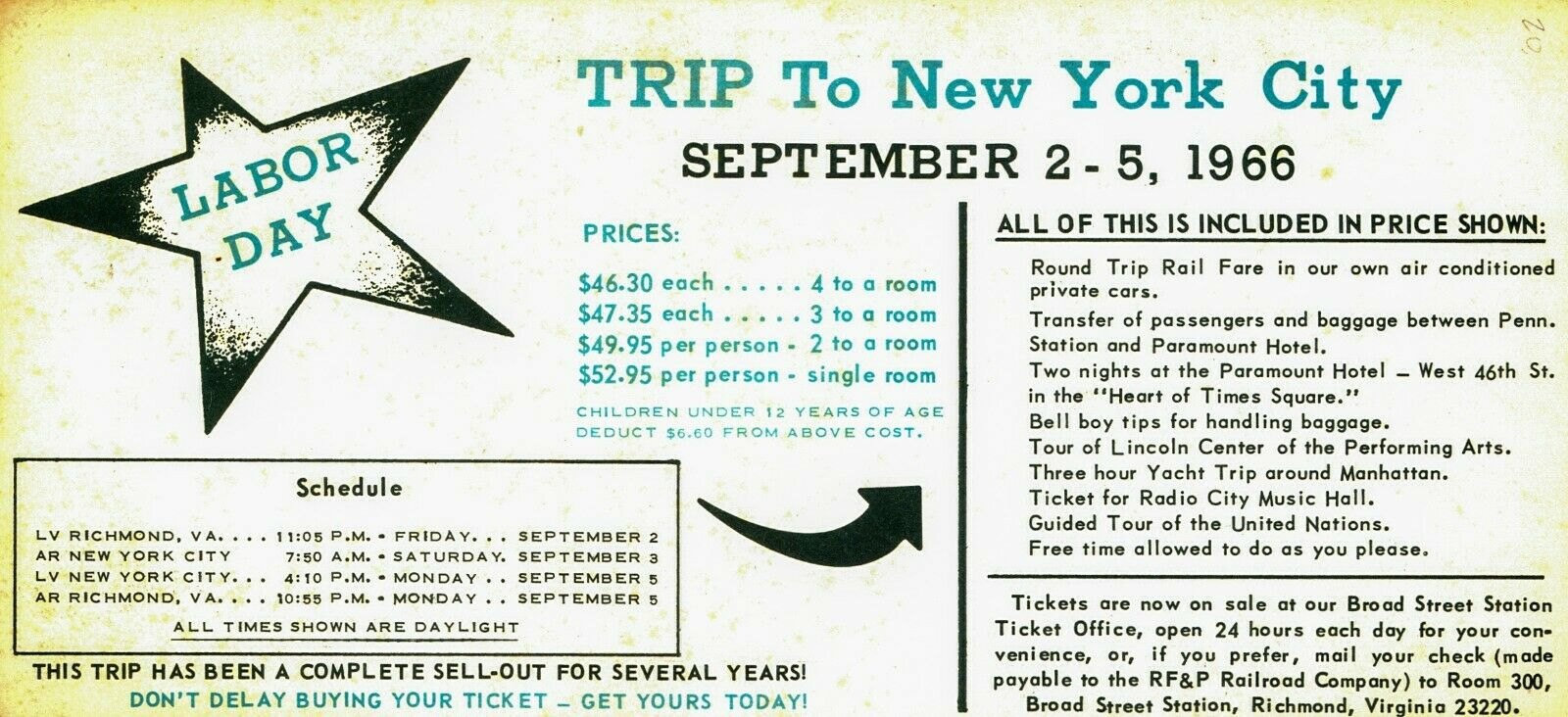 RF&P Railroad Labor Day holiday pleasure trip New York City [1966] mailer advert
