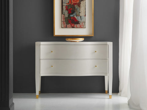 Serpentine 2-Drawer Chest In Linen White Textured Finish by Modern History Home