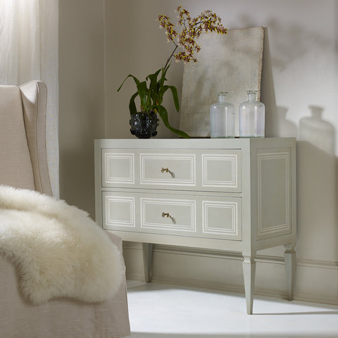Hand-Painted Milan 2-Drawer Gray And White Accent Chest by Modern History Home