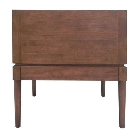 "24"" Walnut End Table With Leather Pull Shown In Pumpernickel Finish by Maria Yee"
