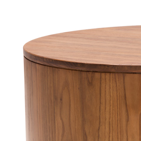 "Merced 23"" Round Cocktail Table With BreathingJoinery™ System Shown In Ginger Finish by Maria Yee"