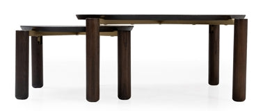Cantor Collection: Two Nesting Tables With Legs Connected To Circular Top With Handcrafted Stainless Steel Joints by Maria Yee