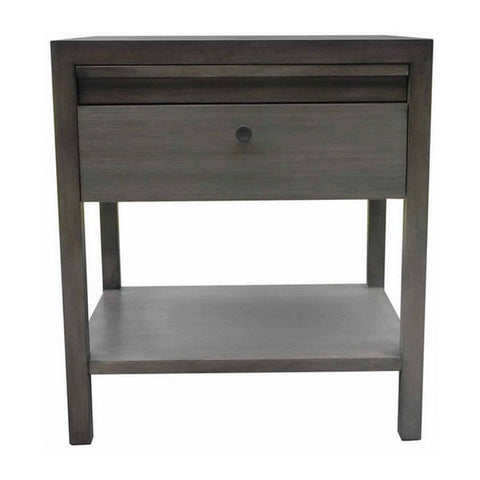 "Aldus Collection: 24"" Elm 1-Drawer Nightstand With Concealed Tray Shown in Fog Finish by Maria Yee"