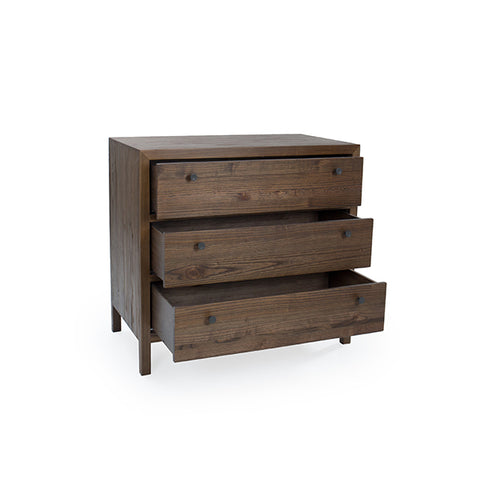 "Aldus Collection: 36"" 3-Drawer Elm Chest Shown in Pumpernickel Finish by Maria Yee"