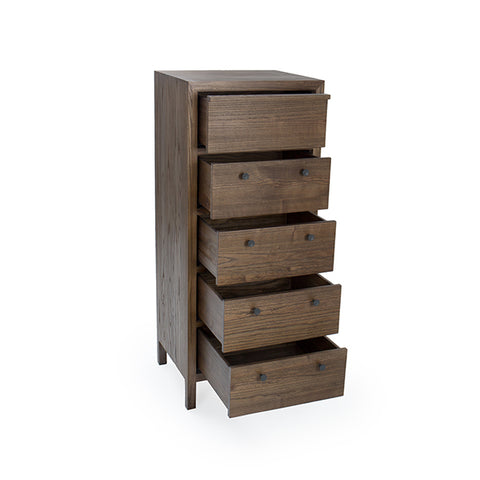 "Aldus 22"" Elm Chest With Five Drawers Shown in Pumpernickel Finish by Maria Yee"
