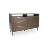 "Image of Napa 64"" Dresser In White Ash With Custom Made Brass Pulls Shown in Shiitake Finish by Maria Yee"