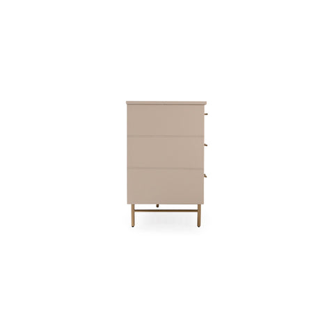 Custom Leather Dresser With 6-Drawers in 16 Diverse Colors Shown in Cream/Brass by Maria Yee