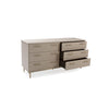 Image of Custom Leather Dresser With 6-Drawers in 16 Diverse Colors Shown in Cream/Brass by Maria Yee