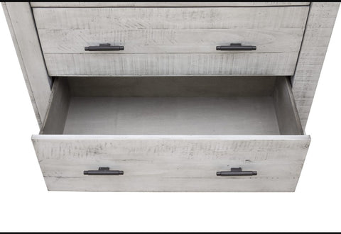XXDistressed Gray 5-Drawer Chest Sealed For A Velvety Finish by Sunset Trading Collection