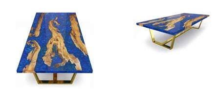 Morano Olive Wood Coffee Table In White, Blue Pearl Or Black Resin With Three Base Choices by Arditi Collection