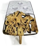 Half 'n Half Modular Coffee Table Constructed With Clear Resin And Olive Wood by Arditi Collection