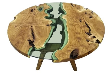 Round Olive Wood Coffee Table with A Glossy River Running Through It by Arditi Collection