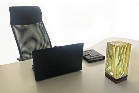 Clear Epoxy Resin Brings Out The Beauty Of The Branches Cube Table Lamp by Arditi Collection