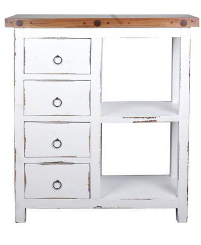 Whitewashed Cabinet Has Two Handwoven Rattan Baskets And A Towel Rack Too by Sunset Trading Collection