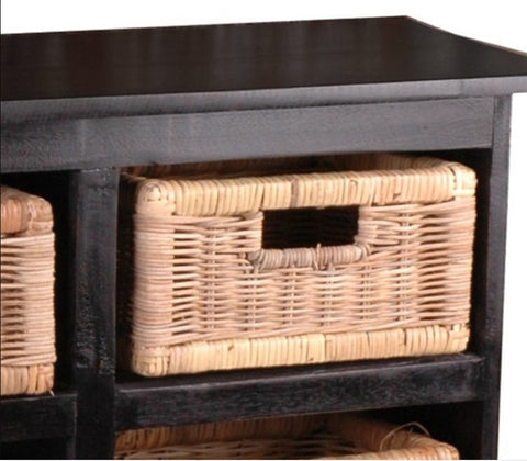 Distressed Black Cabinet Has Six Natural Core Bleached Rattan Baskets And Six Drawers by Sunset Trading Collection