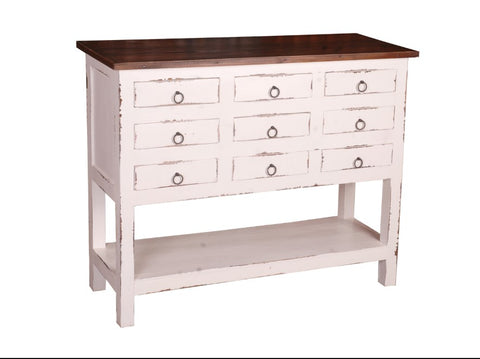 White Raft Wood Cabinet Complete With Nine Drawers by Sunset Trading Collection