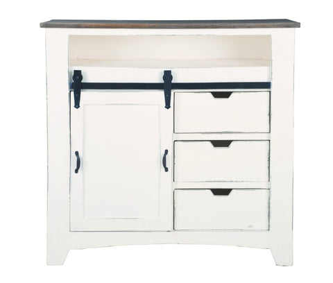 Charming Two-Toned Sliding Barn Door Chest by Sunset Trading Collection