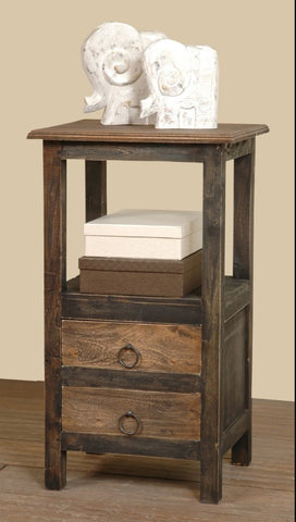 Recycled Mahogany Two-Drawer Table Fits Almost Anywhere by Sunset Trading Collection