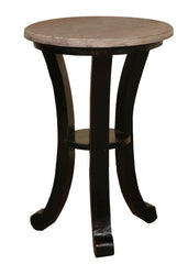 Antique Black Accent Table With Natural Gray-Washed Top by Sunset Trading Collection