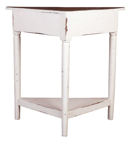 Lightly-Distressed Corner Table Available in Turquoise or White by Sunset Trading Collection