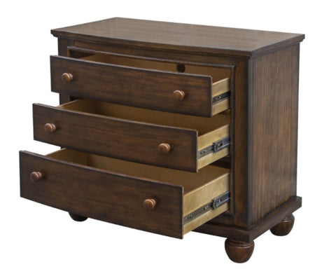 3-Drawer Nightstand With Two Outlets and Two USB Ports by Sunset Trading Collection