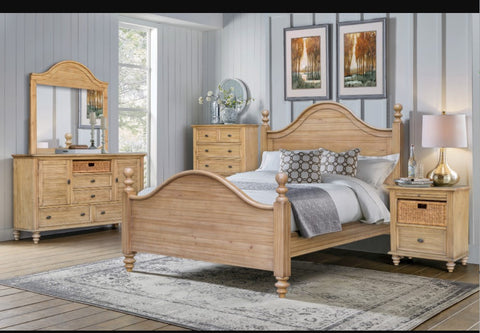 New Zealand Pine 5-Piece Poster Bedroom Set With Seagrass Baskets by Sunset Trading Collection