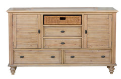 New Zealand Pine Bedroom 6-Drawer Dresser With Seagrass Basket by Sunset Trading Collection