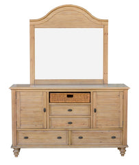 New Zealand Pine 6-Drawer Dresser, Mirror And Seagrass Basket by Sunset Trading Collection