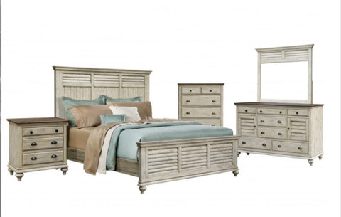 Rustic 5-Piece Bedroom Set With Two 220/Two USB Ports by Sunset Trading Collection