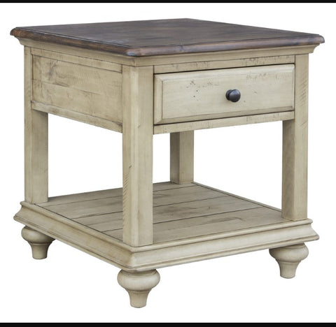 Rustic Acacia And Pine End Table with Drawer and Shelf by Sunset Trading Collection
