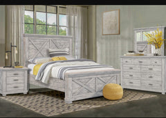 Distressed Gray 5-Piece Bedroom Set With Antique Black Hardware by Sunset Trading Collection