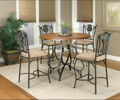 Beautiful  5-Piece Vail Pub Table Set With Scroll Detailing by Sunset Trading Collection