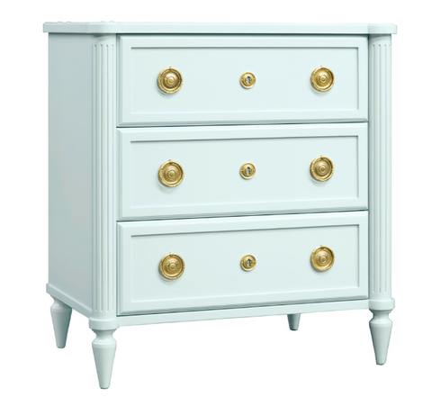 Pretty Calais Bedside Chest Adorned With Antique Brass Knobs by Somerset Bay