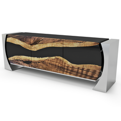 Showstopping 3-Door Walnut Loire Credenza With Stainless Steel Or Black Base by Arditi Collection